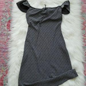 The Limited Vintage Bias Cut blue black dress